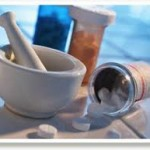 pills and mortar and pestle