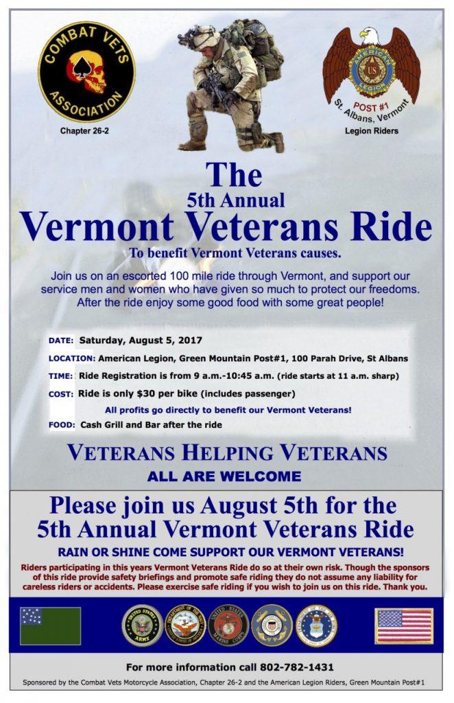 Vermont Veterans Ride 2017 Poster J